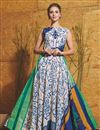 image of Off White Fancy Fabric Party Wear Readymade Gown With Hand Work Butta