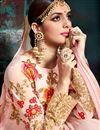 photograph of Designer Wedding Wear Pink Color Georgette Long Floor Length Embroidered Anarkali Dress