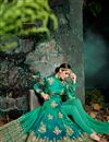 photo of Wedding Function Wear Fancy Green Color Silk Long Embellished Anarkali Salwar Suit