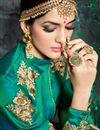 picture of Wedding Function Wear Fancy Green Color Silk Long Embellished Anarkali Salwar Suit