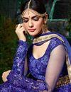 picture of Designer Wedding Wear Blue Color Net Long Floor Length Embroidered Anarkali Dress