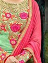 picture of Designer Sangeet Wear Fancy Green Color Chiffon Long Length Embrodiered Anarkali Dress