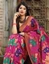 photo of Banarasi Style Silk Rani Color Traditional Wear Fancy Weaving Work Saree