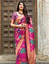 image of Banarasi Style Silk Traditional Wear Rani Color Fancy Weaving Work Saree