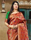 photo of Traditional Wear Red Banarasi Style Silk Fancy Weaving Work Saree