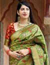 photo of Traditional Wear Green Fancy Weaving Work Saree In Banarasi Style Silk