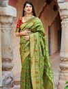 image of Green Banarasi Style Silk Traditional Wear Fancy Weaving Work Saree