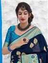 photo of Sangeet Wear Navy Blue Color Chic Art Silk Fabric Weaving Work Saree