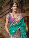 photo of Sangeet Wear Art Silk Fabric Chic Weaving Work Saree In Cyan Color