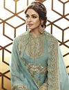 photo of Party Wear Designer Net Floor Length Anarkali Suit In Cyan With Embroidery