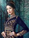 photo of Festive Wear Georgette Fancy Embroidered Anarkali Salwar Kameez In Navy Blue