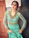 photo of Cyan Net Fabric Designer Function Wear Embellished Long Anarkali