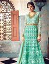 image of Cyan Net Fabric Designer Function Wear Embellished Long Anarkali