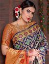 photo of Fancy Sangeet Wear Navy Blue Weaving Work Saree In Art Silk