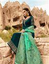 photo of Georgette Embroidered Designer Salwar Kameez In Teal With Fancy Dupatta