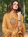 photo of Eid Special Party Style Cotton Silk Fabric Thread Embroidered Straight Cut Dress In Mustard Color