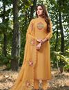 image of Mustard Color Party Style Thread Embroidered Straight Cut Dress In Cotton Silk Fabric