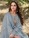 photo of Party Style Cotton Silk Fabric Thread Embroidered Palazzo Dress In Grey Color