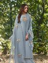image of Party Style Cotton Silk Fabric Thread Embroidered Palazzo Dress In Grey Color