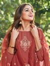 photo of Eid Special Party Style Cotton Silk Fabric Thread Embroidered Straight Cut Dress In Maroon Color
