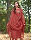 image of Eid Special Party Style Cotton Silk Fabric Thread Embroidered Straight Cut Dress In Maroon Color