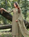 image of Cotton Silk Fabric Party Style Thread Embroidered Dark Beige Color Palazzo Suit