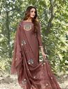 image of Eid Special Party Style Thread Embroidered Cotton Silk Fabric Wine Color Straight Cut Dress