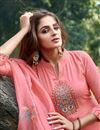 photo of Eid Special Cotton Silk Fabric Party Style Thread Embroidered Palazzo Dress In Peach Color