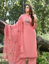 image of Eid Special Cotton Silk Fabric Party Style Thread Embroidered Palazzo Dress In Peach Color