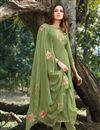 image of Eid Special Party Style Green Color Thread Embroidered Straight Cut Dress In Cotton Silk Fabric