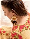 picture of Gauhar Khan Featuring Silk Fabric Party Wear Anarkali Suit In Beige Color With Embroidery Work