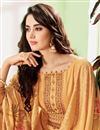 photo of Occasion Wear Cotton Silk Fabric Embroidered Straight Cut Salwar Kameez In Orange Color