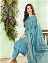 photo of Party Wear Embroidered Straight Cut Suit In Sky Blue Color