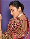 photo of Velvet Fabric Bridal Wear Lehenga With Embroidery Work In Maroon Color
