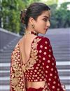 photo of Velvet Fabric Bridal Wear 3 Piece Lehenga In Maroon Color