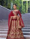 image of Velvet Fabric Bridal Wear 3 Piece Lehenga In Maroon Color