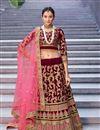 image of Maroon Color Velvet Fabric Bridal Wear Lehenga Choli