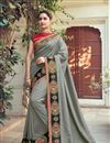 image of Grey Designer Saree In Fancy Fabric With Embroidery Designs And Attractive Blouse