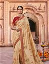 image of Fancy Fabric Beige Party Wear Saree With Embroidery Work And Charming Blouse
