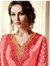 photo of Peach Embroidered Straight Cut Georgette Salwar Kameez