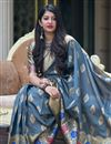 photo of Grey Art Silk Weaving Work Designer Party Style Saree