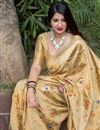 photo of Beige Art Silk Weaving Work Designer Party Style Saree