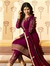photo of Ayesha Takia Designer Embroidered Burgundy Color Straight Cut Suit In Georgette Fabric