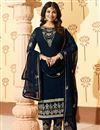 photo of Ayesha Takia Georgette Straight Cut Salwar Kameez In Navy Blue With Embroidery Work