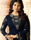 picture of Ayesha Takia Georgette Straight Cut Salwar Kameez In Navy Blue With Embroidery Work