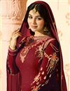 picture of Ayesha Takia Maroon Georgette Long Straight Cut Suit With Embroidery Work