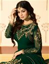 photo of Ayesha Takia Featuring Straight Cut Salwar Suit In Dark Green Georgette With Embroidery Work