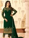image of Ayesha Takia Featuring Straight Cut Salwar Suit In Dark Green Georgette With Embroidery Work