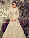 image of Georgette Fabric Cream Color Festive Wear Embroidered Anarkali Suit