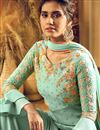 photo of Georgette Fabric Embroidered Light Cyan Color Party Wear Palazzo Salwar Kameez